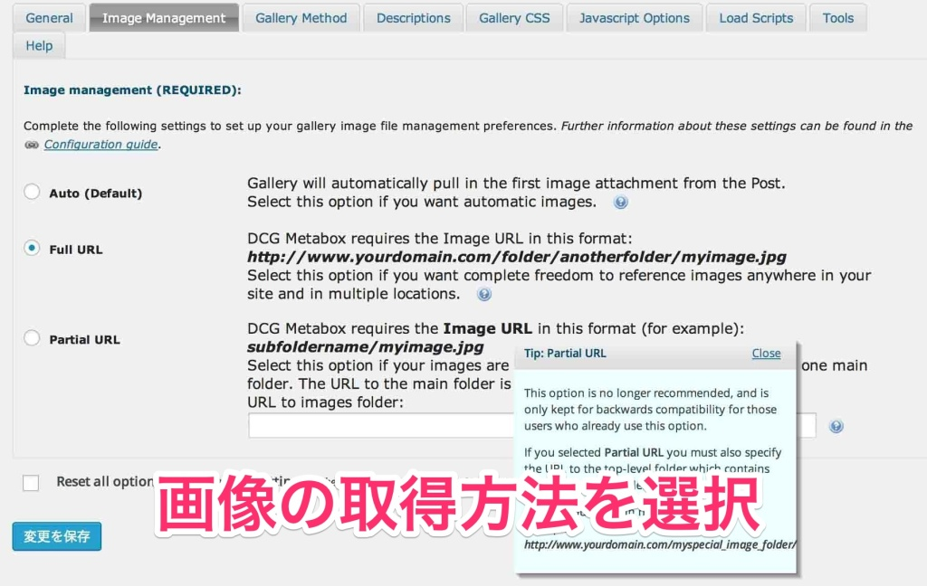 Image Managementタブ