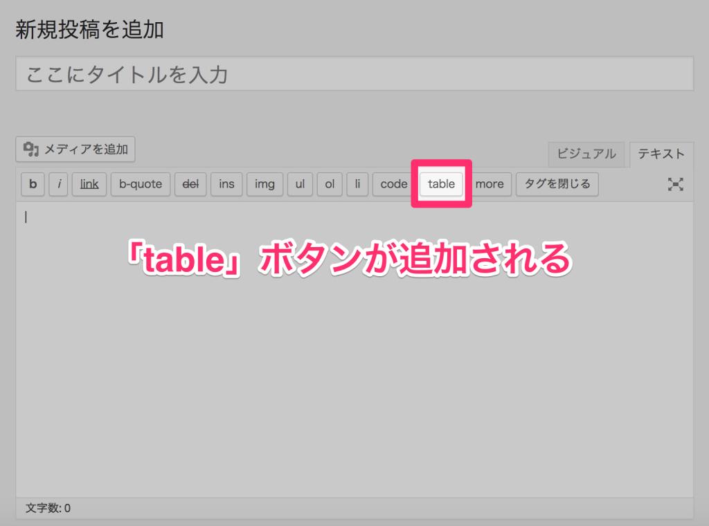 tableボタンがエディターに追加