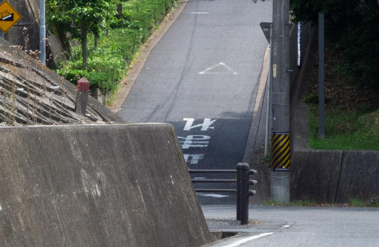 近くで見るとますます急な坂道
